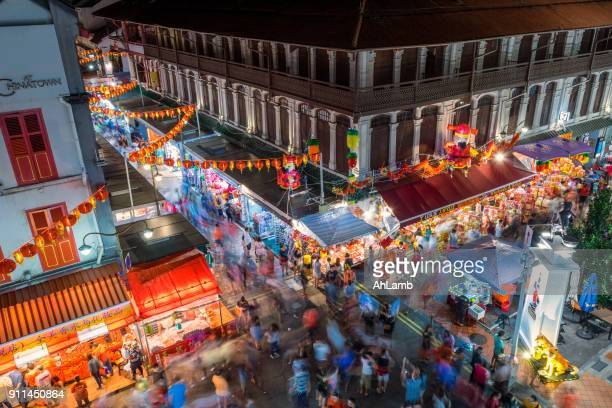 chinatown, singapore. - chinese new year stock pictures, royalty-free photos & images