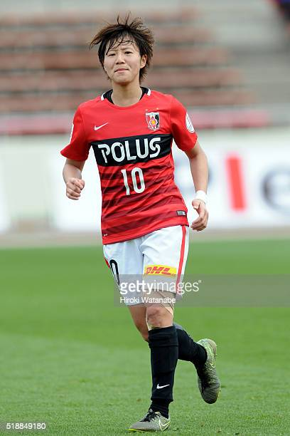 Chinatsu Kira of Urawa Reds in action during the Nadeshiko League match between Urawa Red Diamonds Ladies and Albirex Niigata Ladies at the Saitama...
