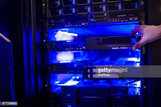ChinaUkraine Scientific Exhibition of Technologies and Innovations is held in Kiev Ukraine on November 21 2017 Modern China data center display stand