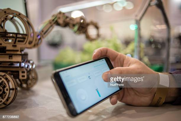 ChinaUkraine Scientific Exhibition of Technologies and Innovations is held in Kiev Ukraine on November 21 2017 A participant of the exhibition...
