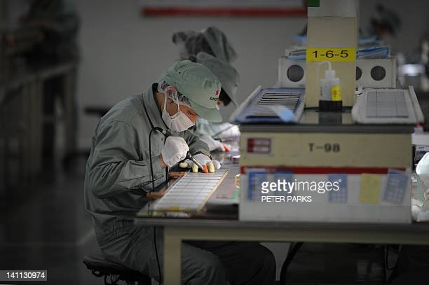 China-US-energy-solar-trade,FOCUS by Bill Savadove This picture taken on February 27, 2012 shows workers assembling solar panels by hand on the...