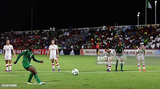 Chinaza Love Uchendu of Nigeria scores a goal from the penalty spot during the FIFA U-20 Women's World Cup Papua New Guinea 2016 Group B match...