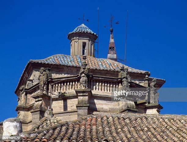 Chinchilla de Montearagon province of Albacete CastileLa Mancha Spain Church of Santa Maria del Salvador Detail of the tower the upper part of which...