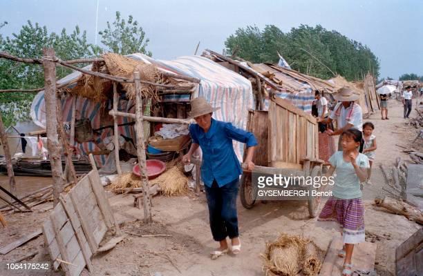 le fleuve Yangtsé en crue dans la région de Wuhan Une femme tirant seule une charette suivie de son mari et de sa fille sur un chemin bordant des...