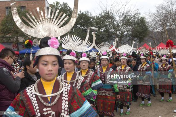 Chine, province du Guizhou, ville de Yatang, festival des green Miao au son des lusheng . China, Guizhou province, Yatang town, Green Miao Lusheng...