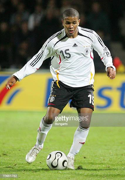 Chinedu Ede of Germany in action during the Men's U20 international friendly match between Germany and Austria at the Guenther-Volker Stadium on...