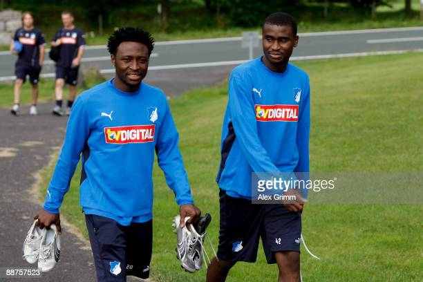 Chinedu Obasi and Albert Alex arrive for a training session of 1899 Hoffenheim during a training camp on June 30, 2009 in Stahlhofen am Wiesensee,...