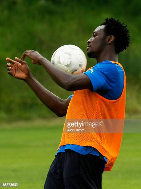 Chinedu Obasi controles the ball during a training session of 1899 Hoffenheim during a training camp on July 1, 2009 in Stahlhofen am Wiesensee,...
