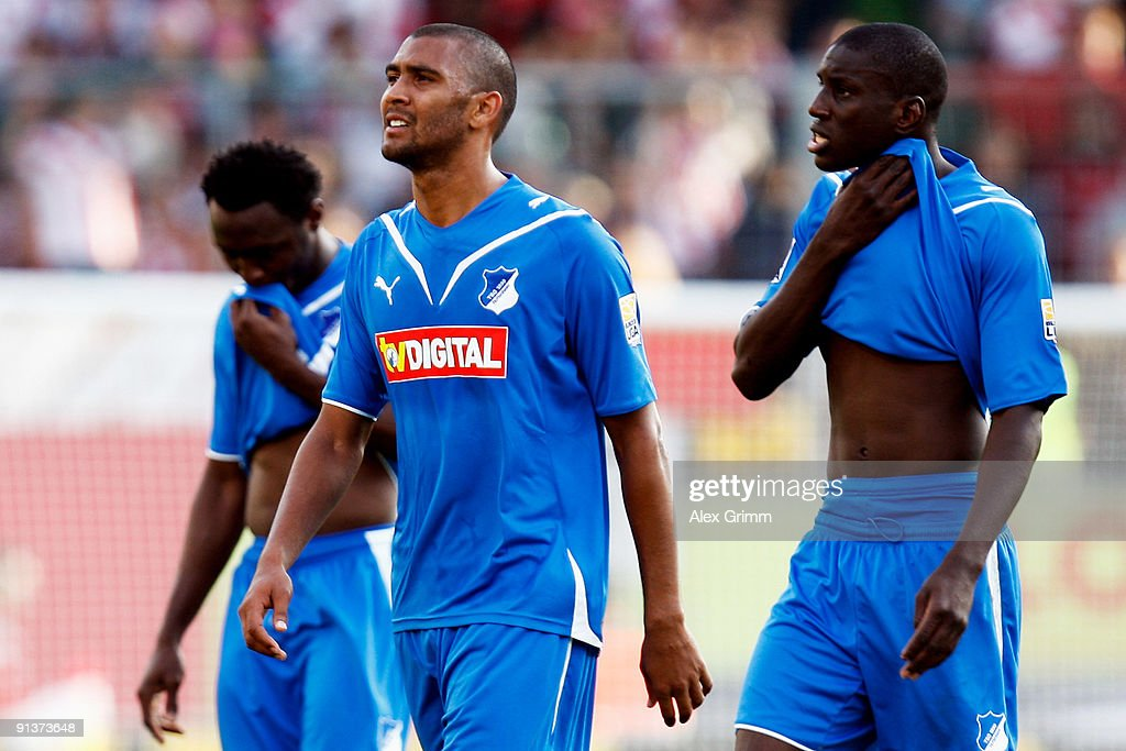 Chinedu Obasi, Marvin Compper and Demba Ba (L-R) of Hoffenheim react after loosing the Bundesliga match between FSV Mainz 05 and 1899 Hoffenheim at the Bruchweg Stadium on October 3, 2009 in Mainz, Germany.