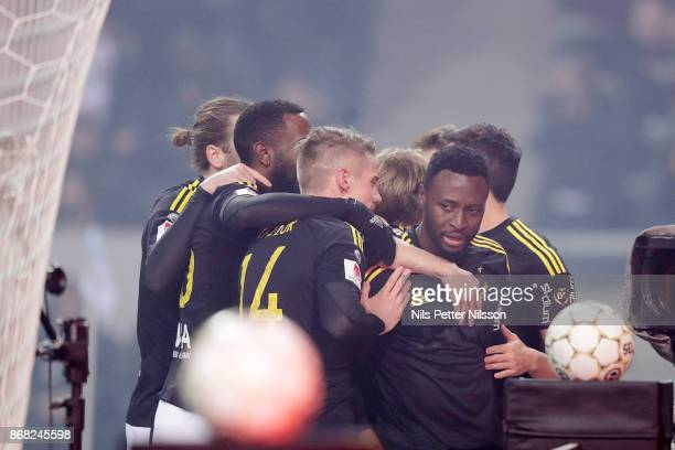 Chinedu Obasi of AIK celebrates after scoring to 10 during the Allsvenskan match between AIK and IFK Goteborg at Friends arena on October 30 2017 in...