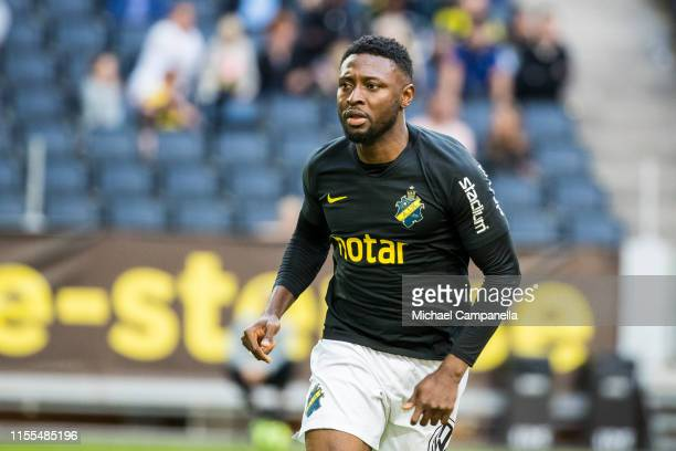 Chinedu Obasi of AIK during an Allsvenskan match between AIK and IF Elfsborg at Friends Arena on July 13, 2019 in Stockholm, Sweden.