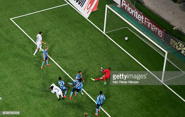 Chinedu Obasi of AIK scores the decisive goal to 03 during the Allsvenskan match between Djurgardens IF and AIK at Tele2 Arena on September 21 2016...