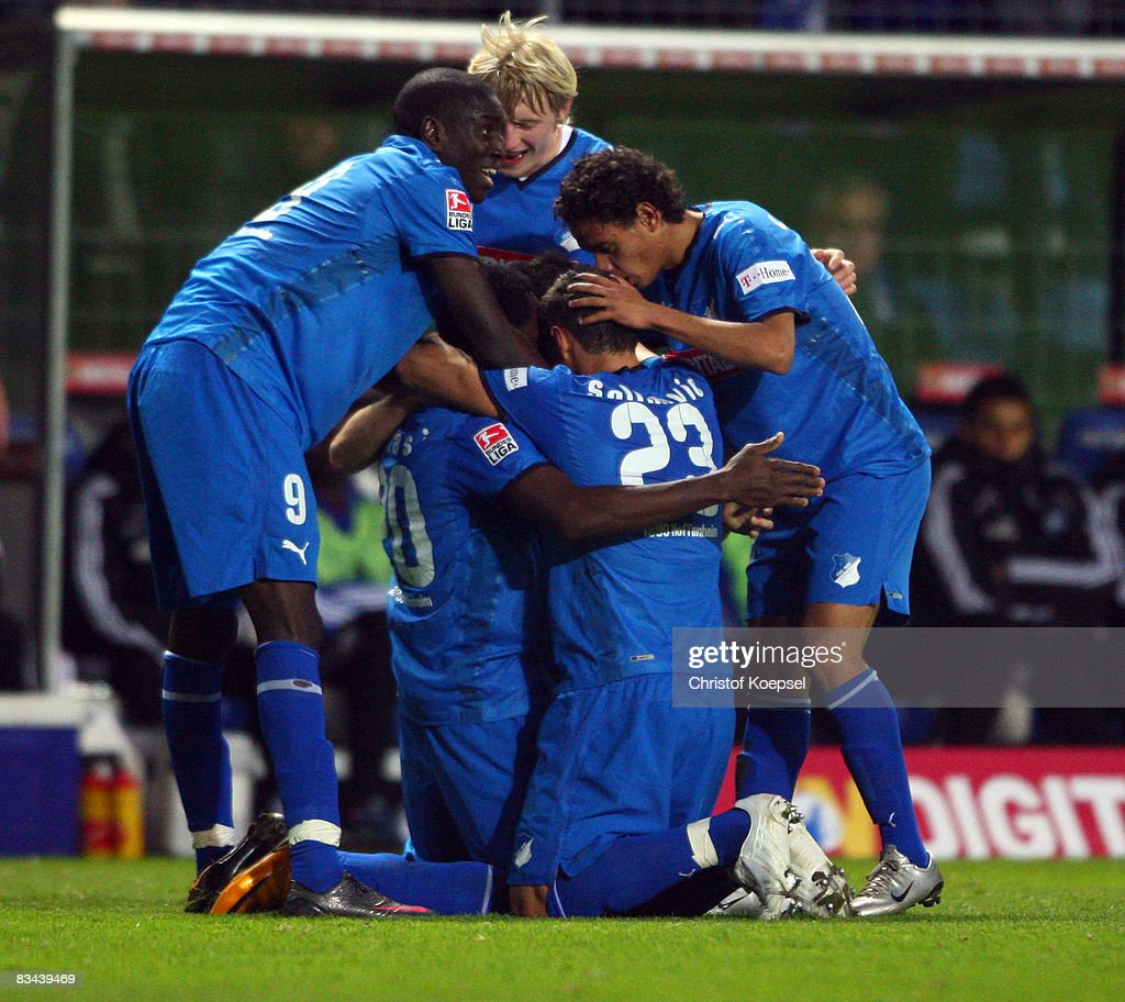 Chinedu Obasi of Hoffenheim celebrates the third goal with his team during the Bundesliga match between 1899 Hoffenheim and Hamburger SV at the Carl-Benz-Stadium on October 26, 2008 in Mannheim, Germany.