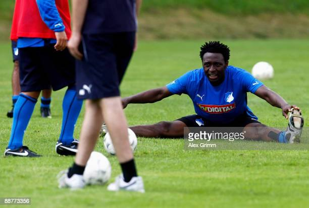 Chinedu Obasi stretches during a training session of 1899 Hoffenheim during a training camp on July 1, 2009 in Stahlhofen am Wiesensee, Germany.