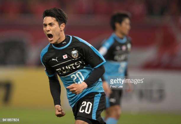 Chinen Kei of Kawasaki Frontale celebrates scoring his team's goal during the 2018 AFC Champions League match between Shanghai SIPG and Kawasaki...