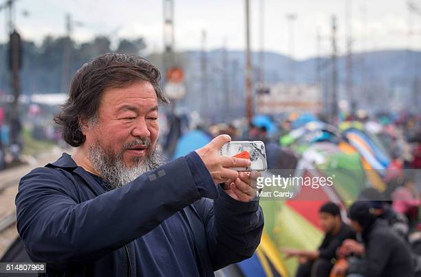 Chinese activist and artist Ai Weiwei at the Idomeni refugee camp on the Greek Macedonia border on March 11 2016 in Idomeni Greece The decision by...