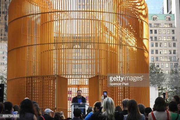 Chinese activist and artist Ai Weiwei speaks in front of one of his new art installations in Central Park part of a series of works entitled 'Good...
