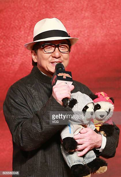 Chinese actor and director Jackie Chan attends premiere of 'Kung Fu Panda 3' directed by Jennifer Yuh of South Korea at Shanghai New World on January...
