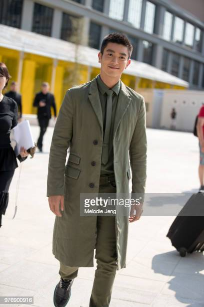 6ff25b857016 Chinese actor Du Jiang in a green jacket and outfit after Neil Barrett  during Milan Men s. Street Style  June 16 - Milan Men s Fashion Week Spring  Summer ...