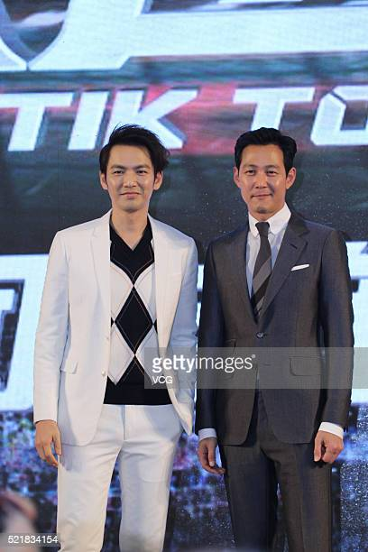 Chinese actor Wallace Chung and South Korean actor Lee Jungjae attends the press conference of Jun Lee's film 'Tik Tok' on April 17 2016 in Beijing...