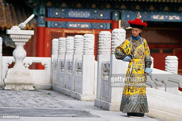 Chinese actor Wu Tao on the set of The Last Emperor directed by Bernardo Bertolucci 1987