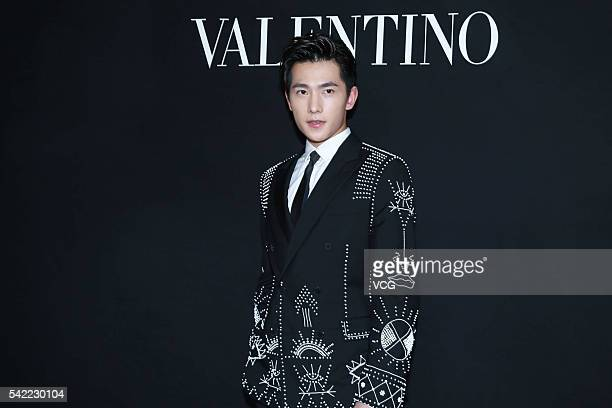 Chinese actor Yang Yang attends the Valentino Menswear show of Paris Fashion Week Spring/Summer 2017 on June 22 2016 in Paris France