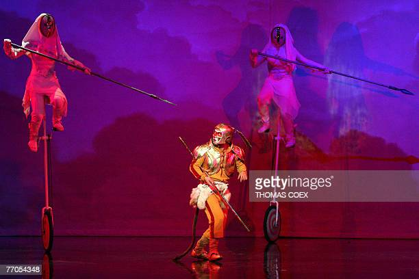 Chinese actors perform in the Monkey journey to the west opera 26 September 2007 at the Theatre du Chatelet in Paris Concepted and directed by Chen...
