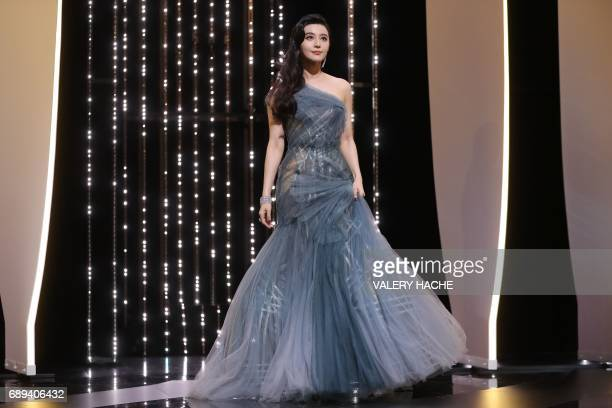 Chinese actress and member of the Feature Film jury Fan Bingbing arrives on stage on May 28 2017 during the closing ceremony of the 70th edition of...