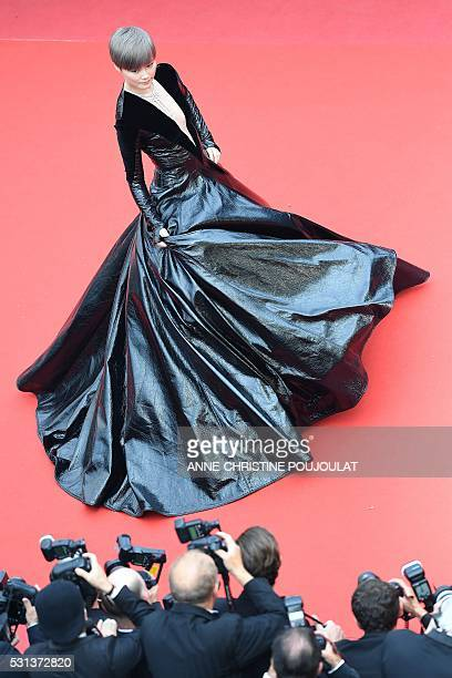 TOPSHOT Chinese actress and singer Li Yuchun poses on May 14 2016 as she arrives for the screening of the film The BFG at the 69th Cannes Film...