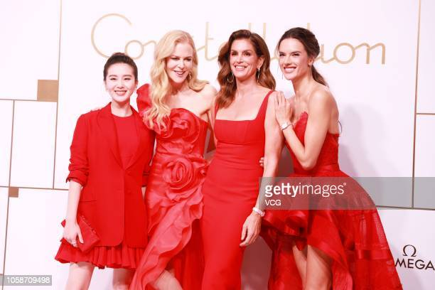 Chinese actress Cecilia Liu Shishi Australian actress Nicole Kidman American model Cindy Crawford and Brazilian model Alessandra Ambrosio pose during...
