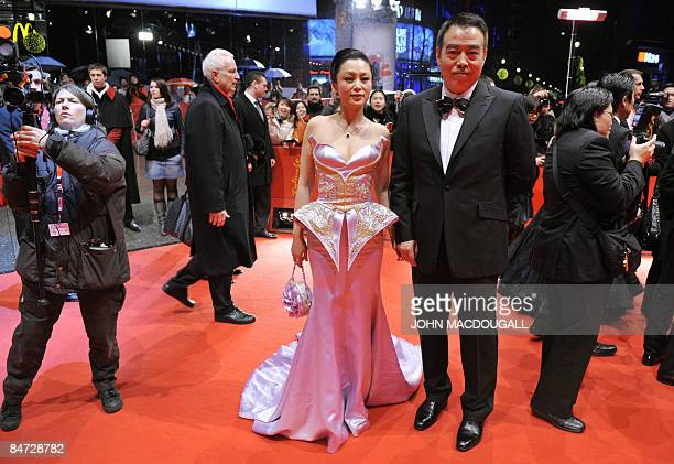 Chinese actress Chen Hong and her husband Chinese director Chen Kaige arrive for the screening of the film Forever enthralled by Chinese director...
