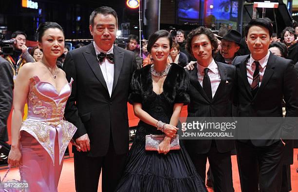 Chinese actress Chen Hong Chinese director Chen Kaige Chinese actress Zhang Ziyi Japanese actor Ando Masanobu and Hong Kong actor Leon Lai pose on...