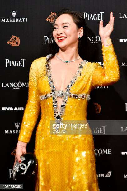 Chinese actress Chloe Maayan arrives on the red carpet of the 55th Golden Horse film awards dubbed the Chinese 'Oscars' in Taipei on November 17 2018