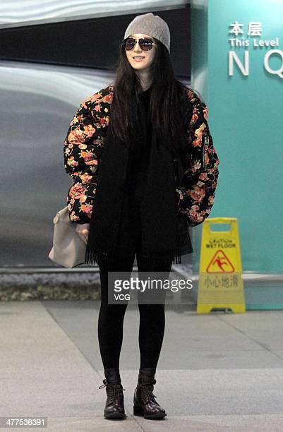Chinese actress Fan Bingbing arrives in Shanghai from the Paris Fashion Week at Shanghai Pudong International Airport on March 9 2014 in Shanghai...