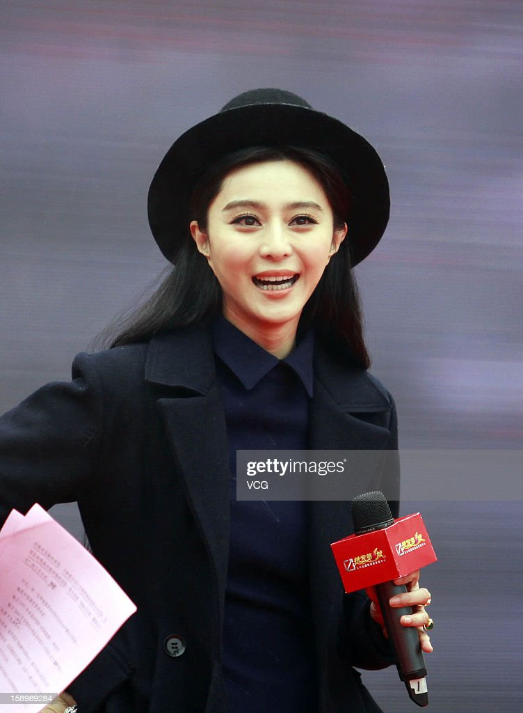 Chinese actress Fan Bingbing attends the 3rd Wuhan Fair on December 28, 2012 in Wuhan, Hubei Province of China.