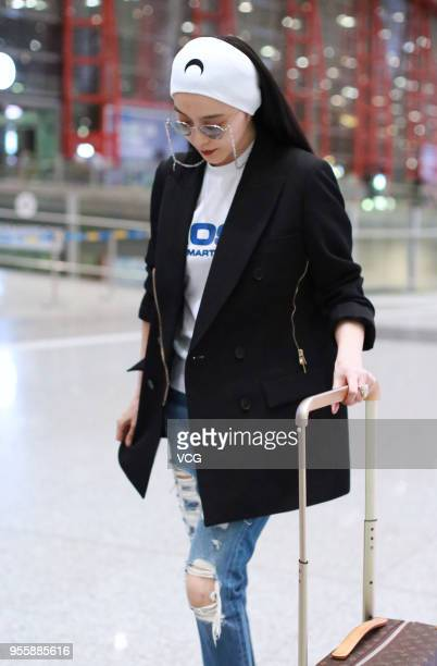 Chinese actress Fan Bingbing is seen arriving at Beijing Capital International Airport before her departure to the 71st Cannes Film Festival on May 8...