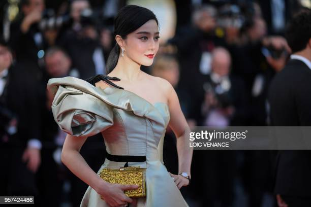 Chinese actress Fan Bingbing poses as she arrives on May 11 2018 for the screening of the film Ash is Purest White at the 71st edition of the Cannes...