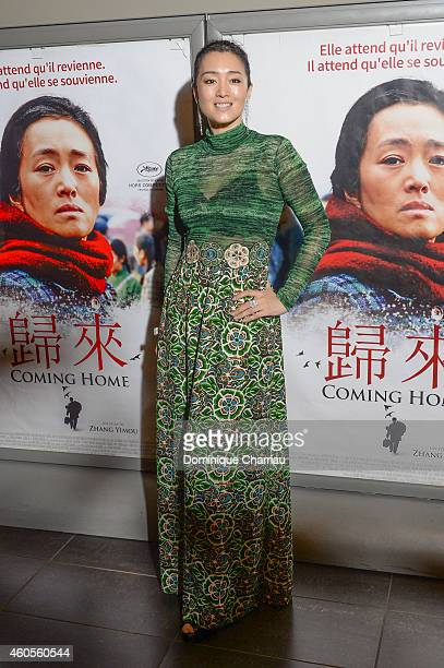 Chinese actress Gong Li attends the 'Coming Home' Paris premiere at Mk2 Bibliotheque on December 16 2014 in Paris France