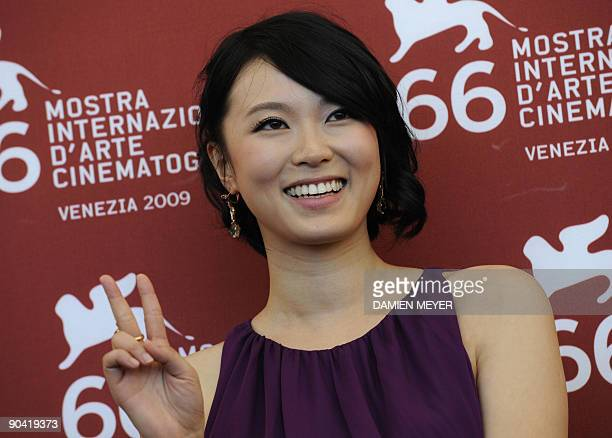 """Chinese actress Hang Lu poses during the photocall of """"Ahasin Wetei"""" at the Venice film festival on September 7, 2009. """"Ahasin Wetei"""" is competing..."""
