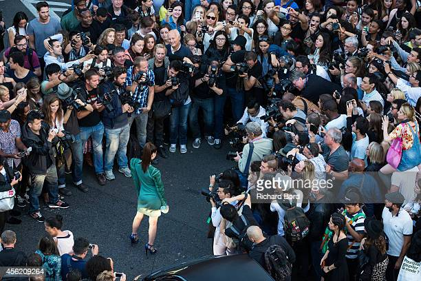 Chinese actress Janice Man arrives at the Jean Paul Gaultier show as part of the Paris Fashion Week Womenswear Spring/Summer 2015 on September 27...