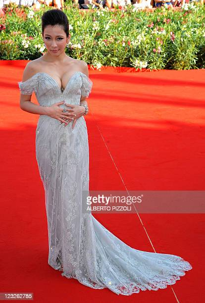 """Chinese actress Landy Wen poses as she arrives for the screening of """"Seediq Bale """" at the 68th Venice Film Festival on September 1, 2011at Venice..."""