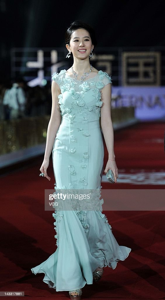 Chinese actress Liu Yifei arrives for the red carpet of 2nd Beijing International Film Festival at China National Convention Center on April 23, 2012 in Beijing, China.