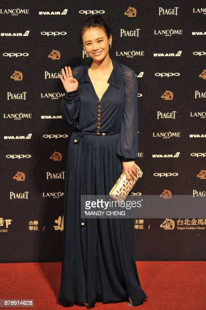 Chinese actress Ma Sichun arrives on the red carpet to attend Taiwan's 54th Golden Horse film awards dubbed the Chinese 'Oscars' in Taipei on...