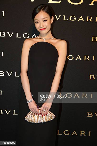 Chinese actress Ni Ni attends the opening ceremony of Bvlgari Store on January 15 2013 in Shanghai China