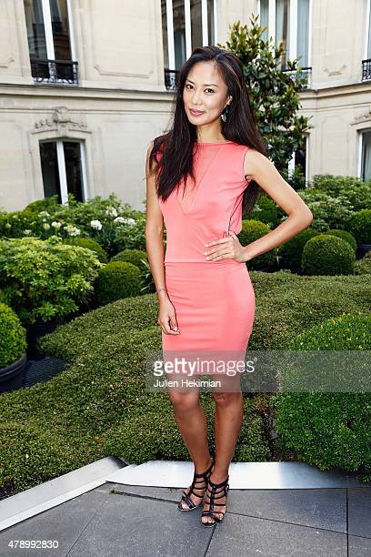Chinese actress Xin Wang attends the 'Monica's List' Cocktail Party at Le Fouquet's Barriere on June 29 2015 in Paris France