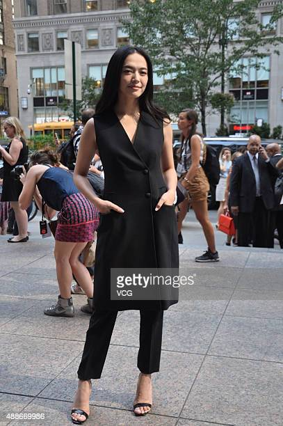 Chinese actress Yao Chen attends the Hugo Boss Womenswear show during the Spring 2016 New York Fashion Week on September 16 2015 in New York United...