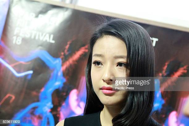 Chinese actress Yueting Lang attends the press interview about the movie Mountain Cry at the 18th Far East Film Festival.