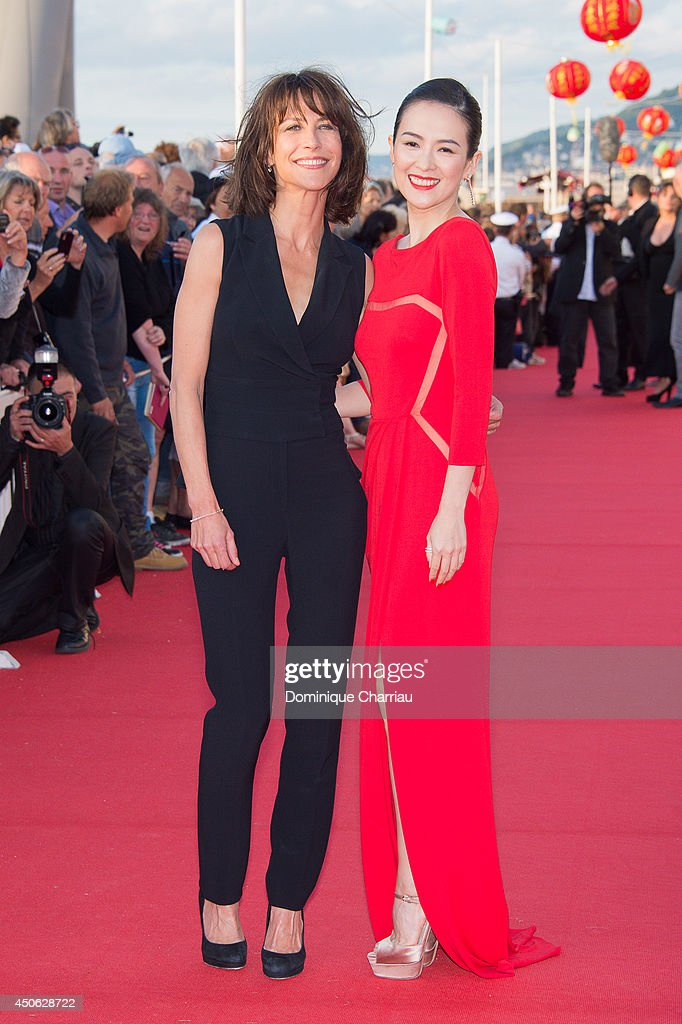 Chinese actress Zhang Ziyi (R) and French actress Sophie Marceau attend the 28th Cabourg Film Festival : Day 4 on June 14, 2014 in Cabourg, France.