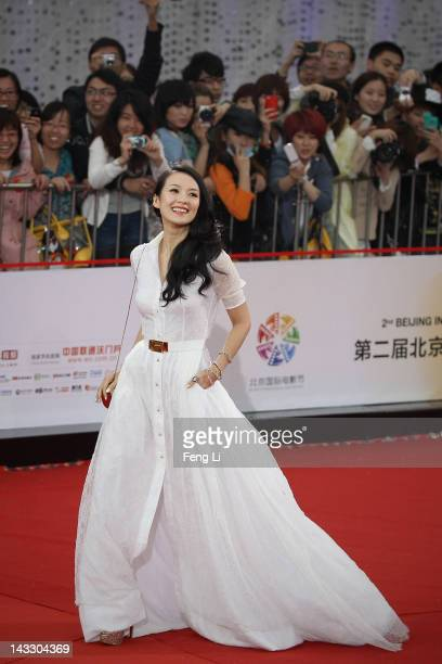 Chinese actress Zhang Ziyi arrives for the red carpet of 2nd Beijing International Film Festival at China National Convention Center on April 23 2012...