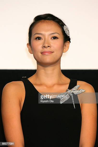 Chinese actress Zhang Ziyi attends the 'Forever Enthralled' Japan Premiere at Shinjuku Piccadilly on February 25 2009 in Tokyo Japan The film will...